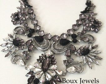 Black and White Statement Bib Necklace