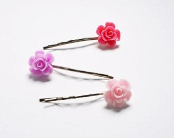 Set of 3 Assorted Color Flower Resin Bobby Pin - Cute Hair Clip - Hair Pins - Color Hair Clips - Bobby Pins Set - Flower Girl Hair