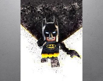 Batman Lego Movie Kids Art Print, Kids Decor, Watercolor Contemporary Abstract Drawing Print, Nursery Decor