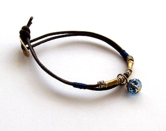 blue crystal brass boho leather brown