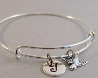 Pretty Sparrow,Bracelet,Bangle,Sparrow Bangle,Bird Bracelet,Bird Bangle Bracelet.Silver Bracelet,Bird Jewlery,Personalize valleygirldesigs