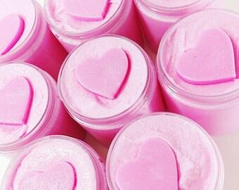Sugar Scrub. PINK SUGAR Whipped Sugar Scrub Soap. Gift for Her. Emulsified Whipped Scrub. Shaving Soap. Bath and Beauty. Scrub. Valentines
