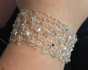 stunning silver wire bracelet cuff with Swarovski crystals | bridal | gift for her