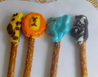 It's A Jungle Out There! Jungle Animals Pretzel Pops (12) 1st Birthday/Jungle Theme
