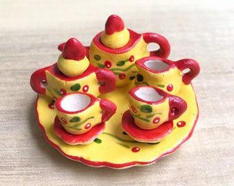 Miniature Tea Set,Miniature English Tea Set,Miniature Coffee Set,Miniature Handmade,Dolls House,Clay Tea Set,Hand Painted,Gifts,DIY