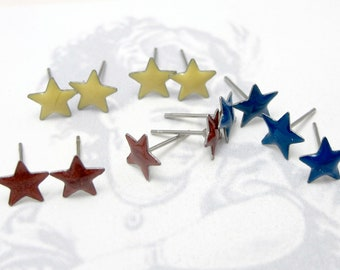 Vintage Red Yellow And Blue Assortment of Enamel Star Stud Earrings - Primary Colors (6 Pairs) (J573)