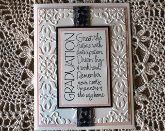 Handmade Greeting Card: Graduation card, feminine graduation card, pink and white