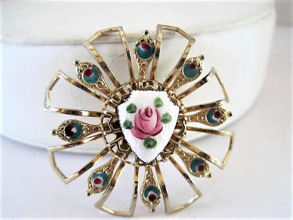 Rose Guilloche Brooch, Pink Rose on White Enamel, RoundGold Tone Pin