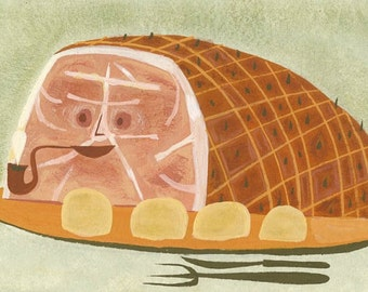 Glazed Ham.  Limited edition print by Matte Stephens