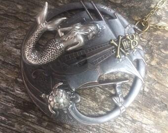 Steampunk Fantasy Pirate Mermaid Medallion Pendant Necklace