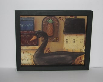 Black Swan Salt Box House Shaker Boxes 9 inch x 11 inch Primitive Country Wall Decor