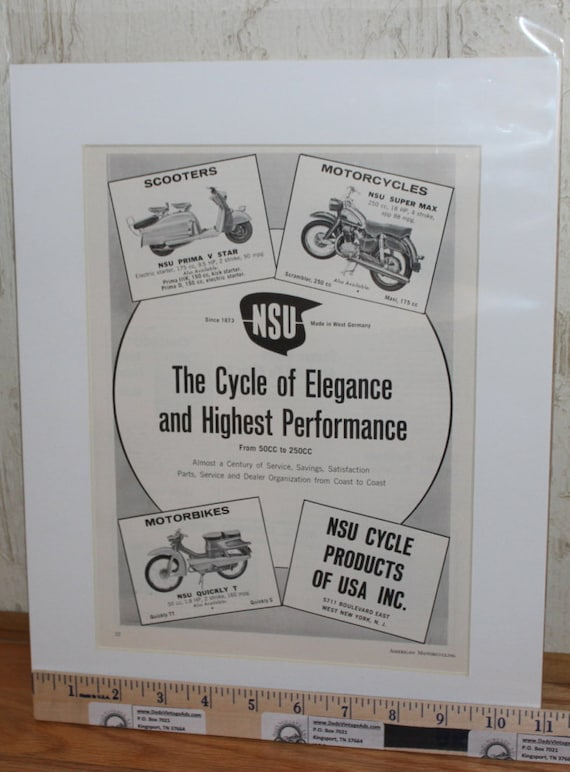 "1960 NSU Motorcycles and Scooters 11"" x 14"" Matted Vintage Ad Art #6005amot04m"