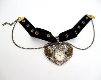 Adjustable Velvet Steampunk Choker_ST097331843_Steampunk accessories_Heart Necklace_Gift ideas