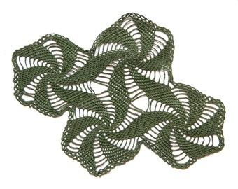 Olive green oval crochet Doily Vintage lacy doily