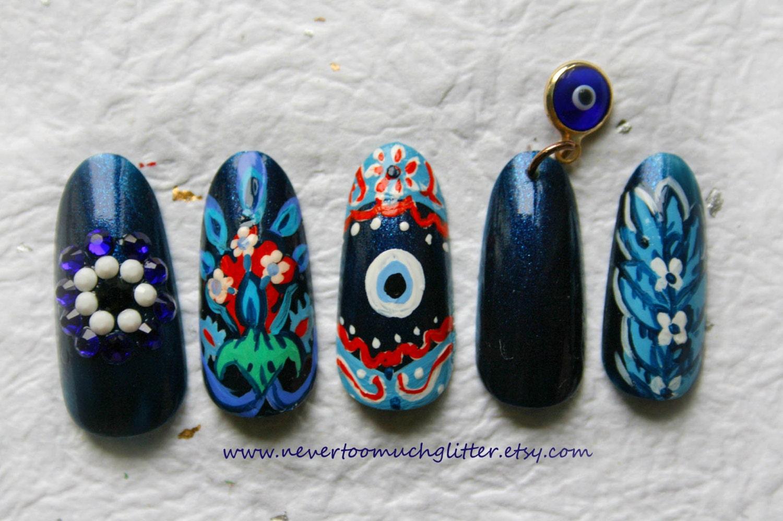 Evil Eye Fake Nails Deluxe Evil Eye Nails Japanese Nail Art