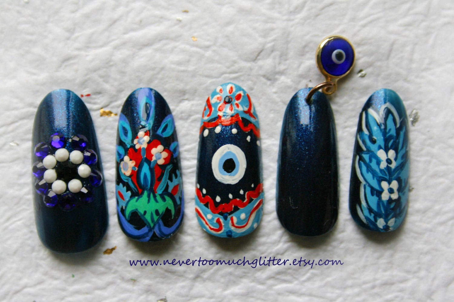 Evil Eye Press On Nails Turkish Art Evil Eye Art Custom
