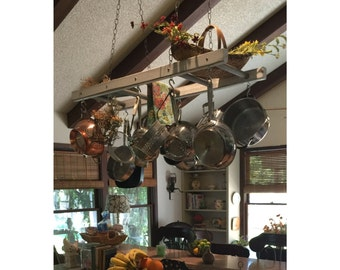 Farmhouse Ladder Pot Rack, Gray Wash Distressed Kitchen Island Pot Holder,  Wood Stained Pot And Pan Storage, Ceiling Pot And Pan Holder