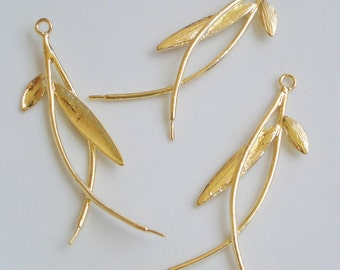 4pcs of gold plated leaf earring chandelier 8x39mm