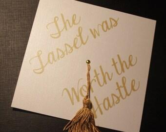 College Graduation Invitation - Graduation Announcement - Tassel was worth the Hassle - Cap - Grad Party Invite - High school invitations