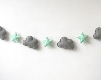 Clouds and star garland, nursery decor, felt nursery garland, wall hanging, nursery wall decor, nursery decor boy, nursery decor girl