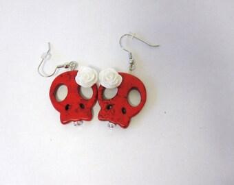 Day Of The Dead Earrings Sugar Skull Jewelry Red White Flower