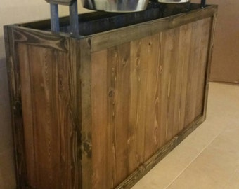 Superb Extra Large Rustic Dog Feeder, Great Dane Dog Feeder, Wood Elevated Dog  Feeder With Storage