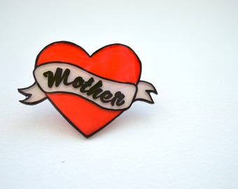 Mother Heart Tattoo Style Brooch