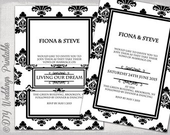 """Wedding invitation template Black & White Damask DIY Classic printable invitations with belly band  -YOU EDIT """"Rococo"""" Word /Jpg Download"""