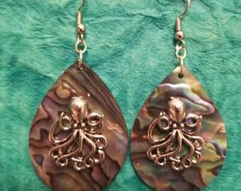 Octopus kracken abalone earrings
