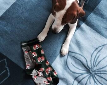 Dog Face Socks, Men's Socks, Women's Socks, Animal Socks, Mismatched Socks, Gift for dog lover