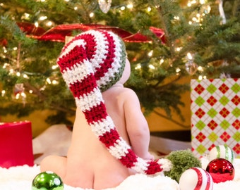Baby Christmas Elf hat baby stocking hat red and white hat  (newborn through toddler sizes)