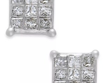 Brand new Vintage 1/5 carat princess cut diamond stud earrings 10K white gold