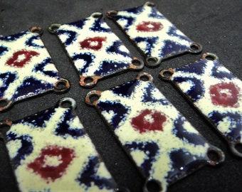 6x 1970s Enamel Links... Cream Navy-Blue Dark-Red