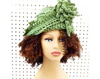 Cloche Hat 1920s Cloche Hat Women, Roaring 20s Fashion Roaring 20s, Cloche Hats, Sage green Hat, Lauren Hat