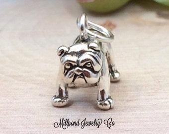 Bull Dog Charm, Bulldog Charm, Bull Dog Pendant, Bull Dog Lover, Dog Lover, Sterling Silver Charm, Sterling Silver Pendant, PS0601