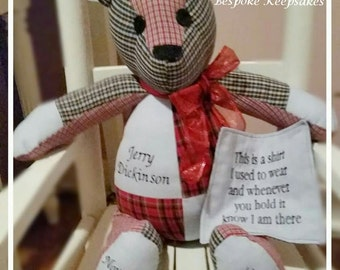 """Custom Keepsake Memory Bear 18"""" ~ MadeTo Order with Your Favorite Clothes"""