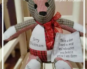 "Custom Keepsake Memory Bear 18"" ~ MadeTo Order with Your Favorite Clothes"