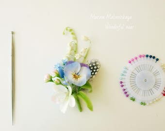 Light blue wedding hair pin, Spring wedding, hair piece, Bridal hair accessory, Blue hair pin Forget me not flower pin