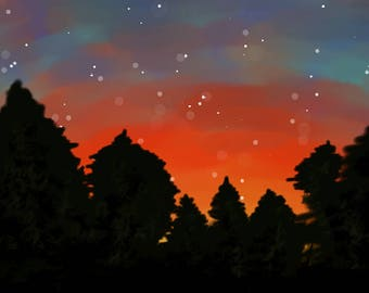 Sunset with forest design
