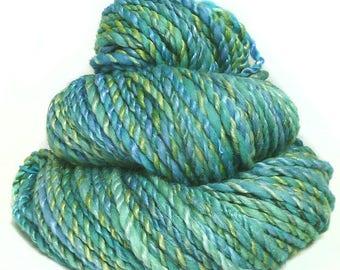 Handspun handdyed yarn Merino wool tencel silk plied hand spun yarn