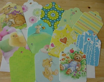 Set of 12 Hand Punched Tags from Greeting Cards, Upcycled, Scrapbooking Collage, Flowers, Animals
