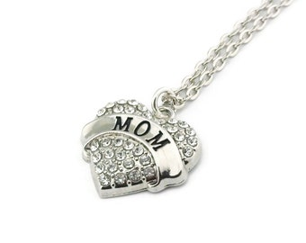 SALE Mom Rhinestone Heart Necklace