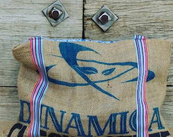 Coffee hessian bag/hessian tote/upcycled recycled coffee hessian sack/hessian handbag/beach bag/ shopper - 'Bean to Dinamica' tote