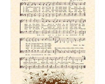 The CHURCH In The WILDWOOD AKA Little Brown Church In The Vale Christian Home Decor Sheet Music Wall Art Vintage Verses Inspirational Art