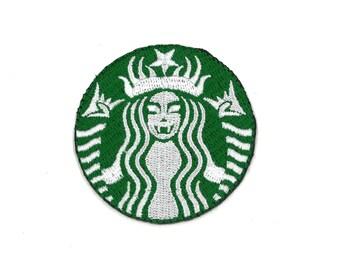 Starbucks Heavy Metal Logo Iron-On Patch Cappuccino Late Latte Frappuccino Cafe Caffe Espresso caramel macchiato Barista Shot Pastel Goth