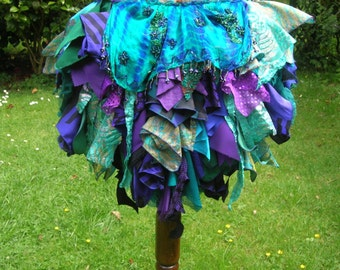 Burning man, ATS, faery, burlesque cabaret tatter bustle, tribal belly dance costume repurposed clothing MADE to ORDER in choice of colours