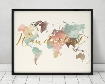 Gifts for wanderlust travelers etsy wanderlust world map poster world map pastel large world map travel map gumiabroncs Gallery