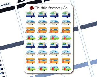 32 RV Camper Stickers - Planner Stickers for Erin Condren Life Planners - G2