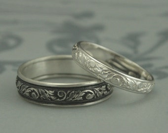 Silver Wedding Band Set--His and Hers Leaf Patterned Rings--Silver Wedding Ring Set--Leaf and Swirl Design Bands--Going Baroque Bands