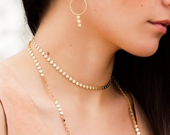 Rose Gold Circle Chain Choker, Simple Chain Choker Necklace, Minimalist Rose Gold Choker,  Layering Necklace, Gold Filled Choker